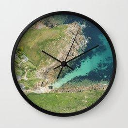 Top down aerial views over Porthgwarra Beach, Cornwall. Wall Clock