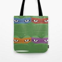 teenage mutant ninja turtles Tote Bags featuring Teenage Mutant Ninja Turtles - TMNT by Alex Patterson AKA frigopie76
