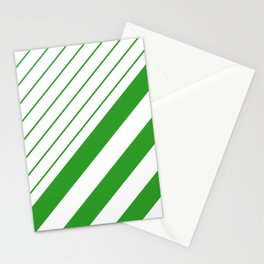 Green And White Stripes Pattern Stationery Cards