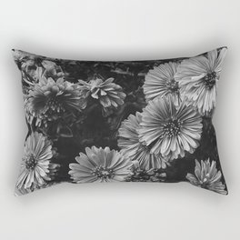 FLOWERS - FLORAL - BLACK AND WHITE Rectangular Pillow