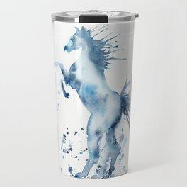 Watercolor Horse Rearing Paint Splatter Travel Mug
