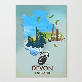Devon England map Canvas Print