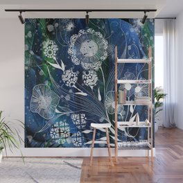 Fantasy Flowers on Feather Background Wall Mural