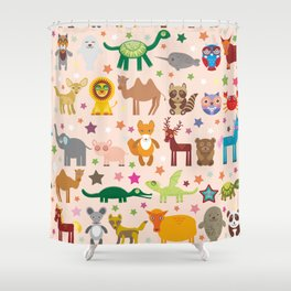 Set of funny cartoon animals character on pink seamless background. zoo. Vector Shower Curtain