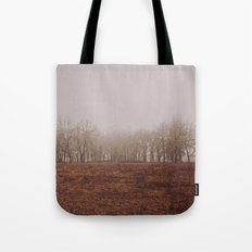 Foggy Trail to the Trees Tote Bag