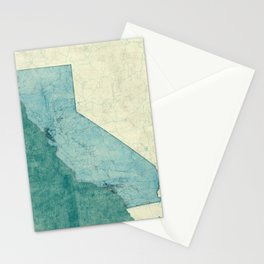 California State Map Blue Vintage Stationery Cards