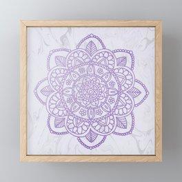 Lavender Mandala on White Marble Framed Mini Art Print