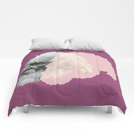 Henry Wadsworth Longfellow - portrait purple and white Comforters