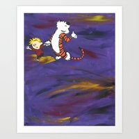 calvin and hobbes Art Prints featuring Calvin & Hobbes - Purple by Always Add Color