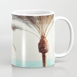 Modern California Vibes pink sky blue seascape tropical palm tree beach photography Coffee Mug