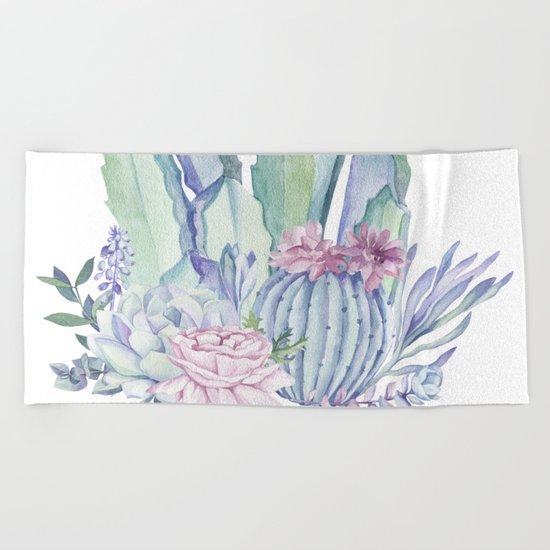 Desert Love Cactus + Succulents Beach Towel