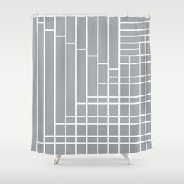 Fuzz Outline Grey Shower Curtain