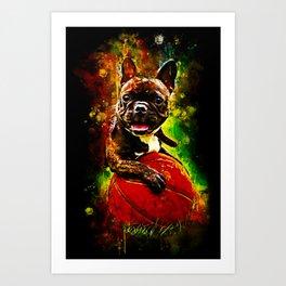 french bulldog basketball splatter watercolor Art Print