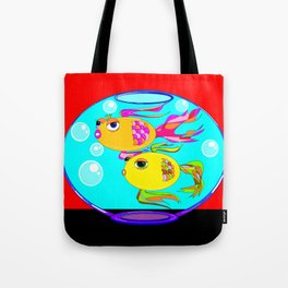 Two Goldfish in a Fishbowl, Red Wall Tote Bag