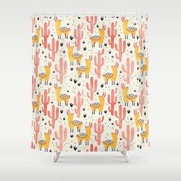 Yellow Llamas Red Cacti Shower Curtain