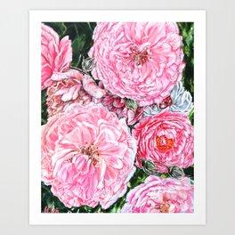 CELEBRATIONS - PEONIES GALORE- Original Fine art floral painting by HSIN LIN / HSIN LIN ART Art Print