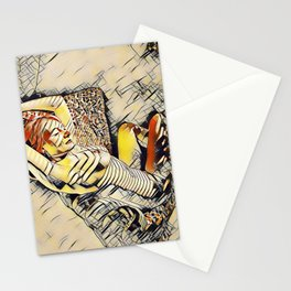 4248s-JG Beautiful Jessica Striped Nude Erotica in the Style of Kandinsky Stationery Cards