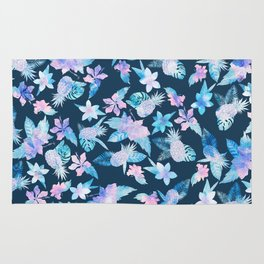 Tropical navy blue pink teal watercolor fruit floral Rug