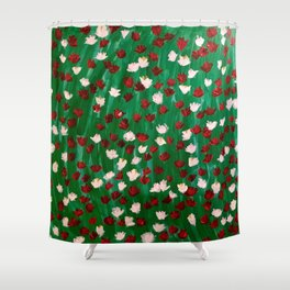 Red and White Flowers on Green Grass Shower Curtain