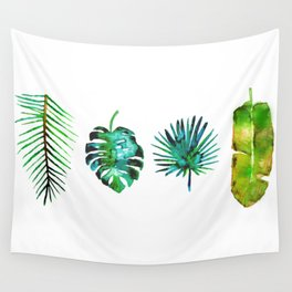 Four Tropical Leaves Wall Tapestry