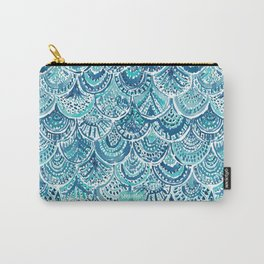 SPLASH Blue Watercolor Mermaid Scales Carry-All Pouch