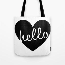 Hello Heart Wall Art #4 Black Heart Tote Bag