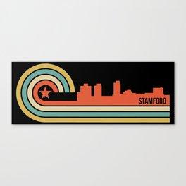Retro Stamford Connecticut Skyline Canvas Print