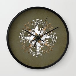Celtic Deer Pattern - Moss White Caramel Wall Clock