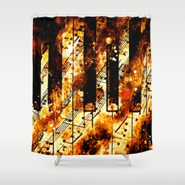 piano keys and music sheet pattern wsee Shower Curtain