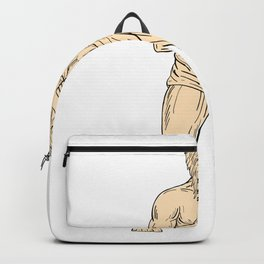 Hercules In Boxer Fighting Stance Drawing Color Backpack