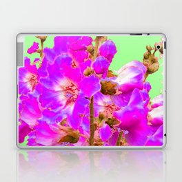 Fuchsia Purple Holly Hocks Pattern  Mint Green Flora Art Laptop & iPad Skin