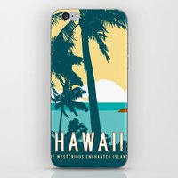 travel poster iPhone & iPod Skins featuring Hawaii Travel Poster by Michael Jon Watt