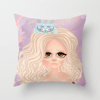 anxiety Throw Pillows featuring Anxiety by Victoria Rosas