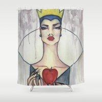 evil queen Shower Curtains featuring Evil Queen by Estrela de Papel