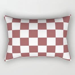 Checkered Pattern: Rustic Red Rectangular Pillow