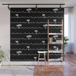 Tropica Night - black and white tropical pattern Wall Mural