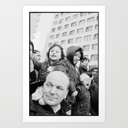 Children and adults at the chinese new year parade 2014, Paris 13eme Art Print