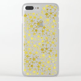Magical Gold Stars Pattern Clear iPhone Case