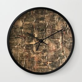 Textured Bronze Gold Metal Painting on Canvas Wall Clock