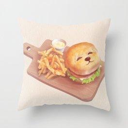 SmileDog Burger Throw Pillow