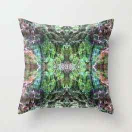 """""""Tie-dyed space Alien"""" Reflection of moss covered stump Throw Pillow"""