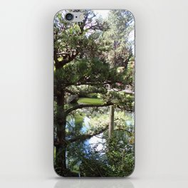 Peaceful Pond in Japanese Garden with Trees and a Bridge iPhone Skin