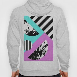 Stripes And Splats 2 - Random, Crazy, Abstract, Geometric, Black And White, Cyan, Pink Artwork Hoody