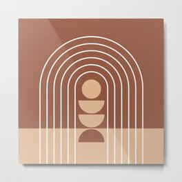 Geometric Lines in Terracotta and Beige 33 (Rainbow Sun Acstraction) Metal Print