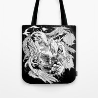 demon Tote Bags featuring Demon by Gregery Miller