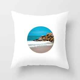 The Ocean Rocks! (Small image on Large Background) Throw Pillow