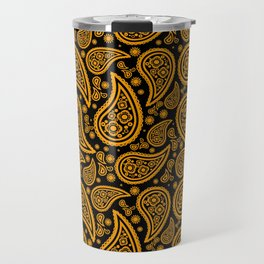 Paisley (Orange & Black Pattern) Travel Mug