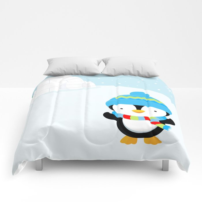 Cute penguin boy #1 Comforters