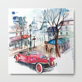 Red retro car Metal Print