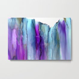 Secret Veil -  modern alcohol ink painting, Abstract watercolor wash, abstract Wall Art,pink purple blue gray Metal Print